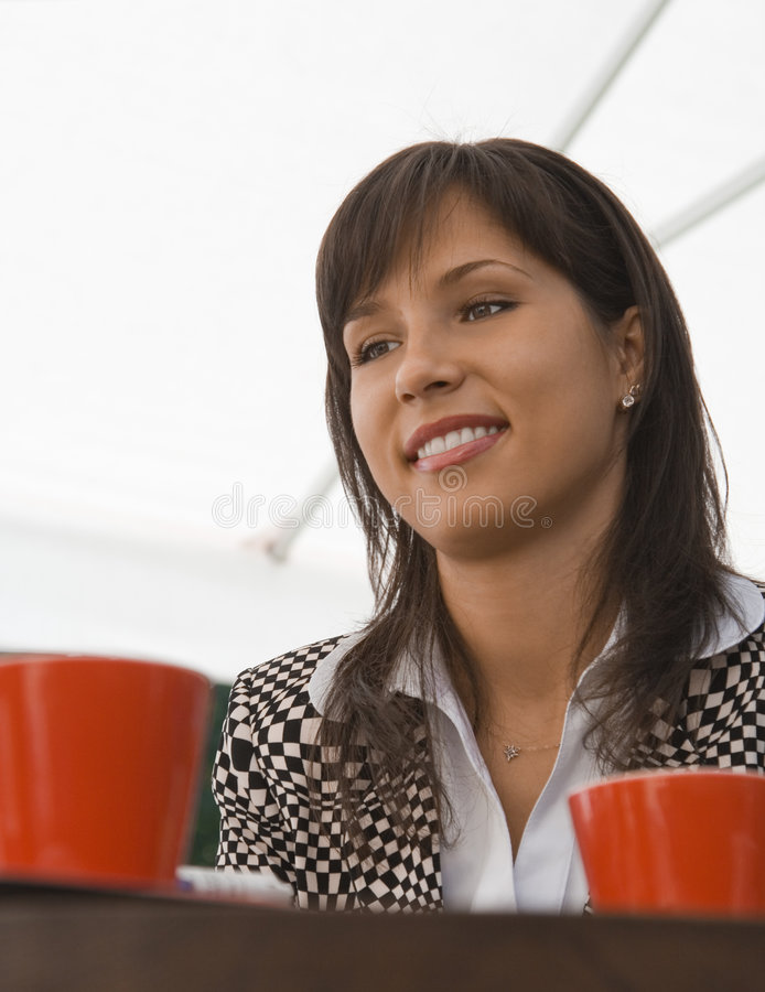 Her coffee meeting royalty free stock photos