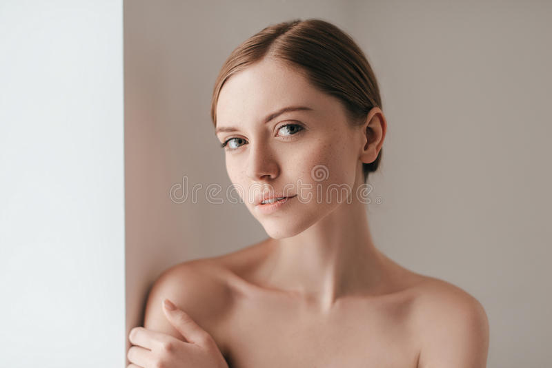 Her confidence shines through. stock photography