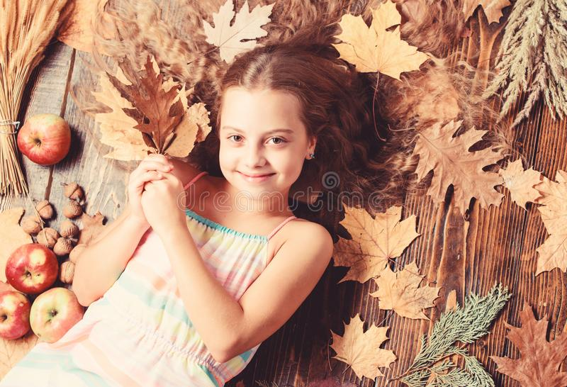 Her hair at its best. Little girl with wavy hairstyle on fall background. Small beauty model with fall look. Hair salon. For kids. Pretty girl with long royalty free stock photos
