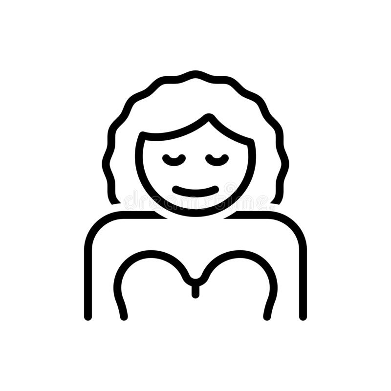 Black line icon for Her, lass and gal. Black line icon for Her, daughter, girl, woman,  lass and gal vector illustration