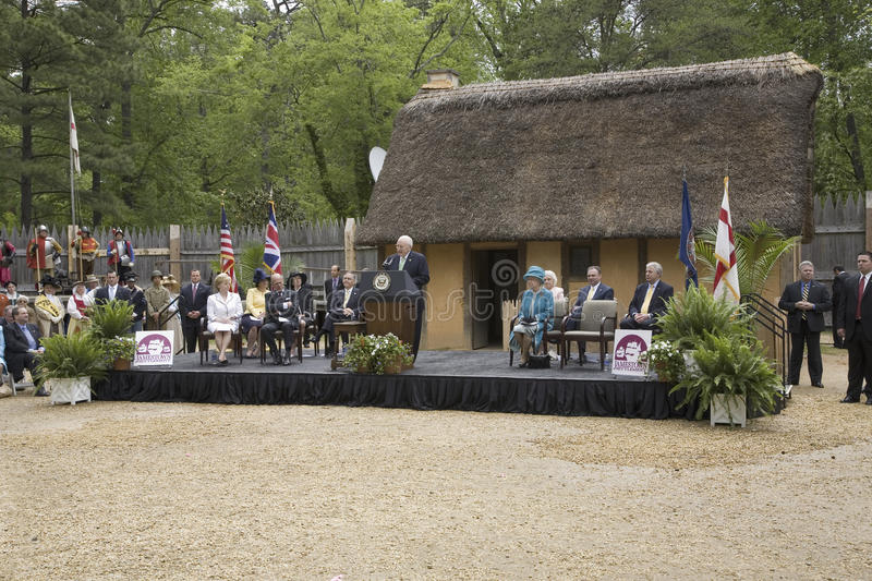 Her Majesty Queen Elizabeth II. Vice President Cheney speaking during ceremony at James Fort at Jamestown Settlement, Virginia on May 4, 2007, the 400th royalty free stock image
