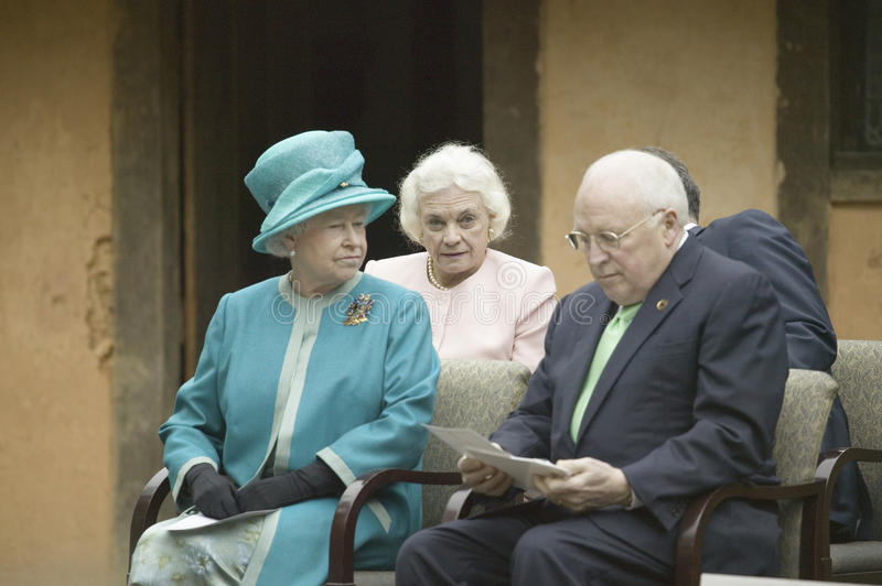 Her Majesty Queen Elizabeth II. Left to right, Her Majesty Queen Elizabeth II, former Supreme Court Justice Sandra Day O'Connor and Vice President Cheney royalty free stock image