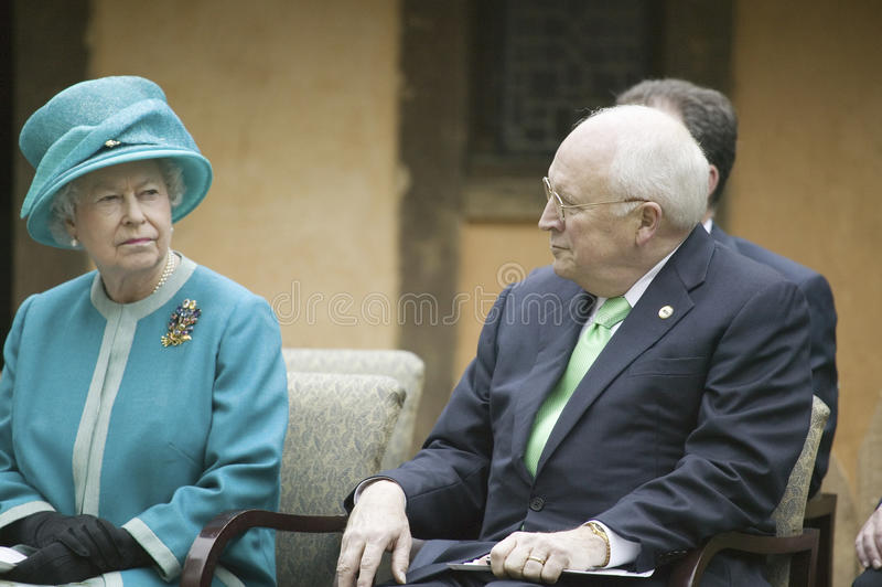 Her Majesty Queen Elizabeth II and Cheney. Left to right, Her Majesty Queen Elizabeth II, former Supreme Court Justice Sandra Day O'Connor and Vice President royalty free stock image