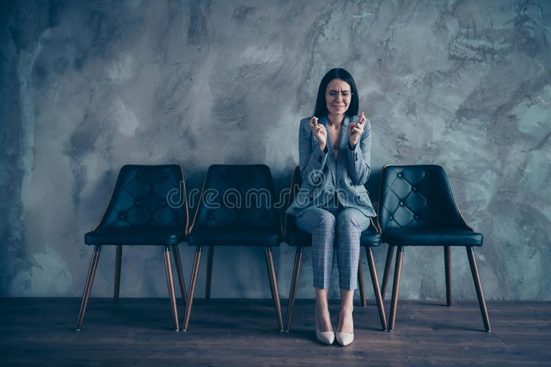 Her she nice stylish trendy executive marketer financier white collar unsure crying brunette lady waiting appointment royalty free stock photos