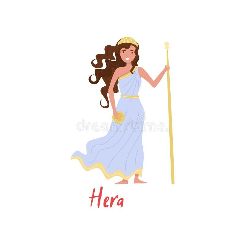 Hera奥林山希腊语Goddes,古希腊神话漫画人物在白色背景的传染媒介例证 库存例证