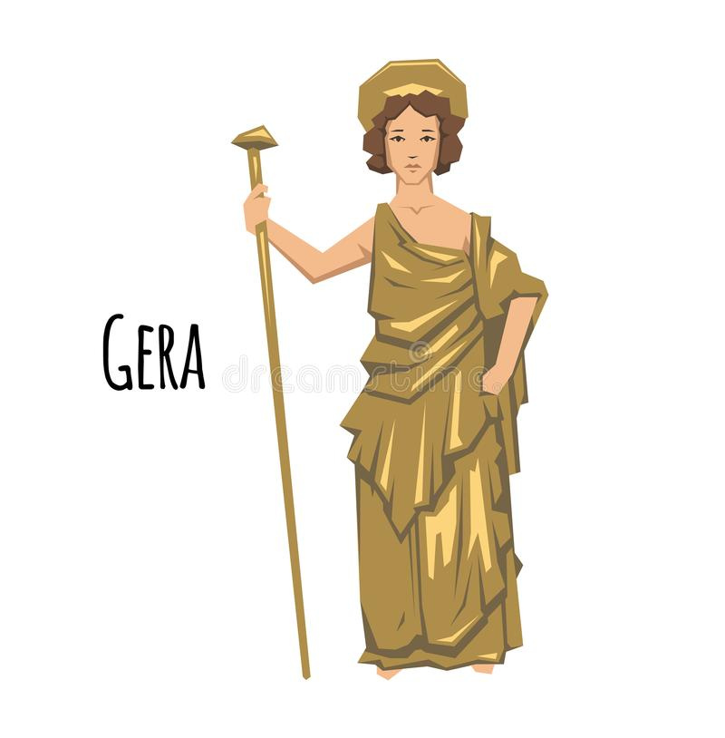 Hera, ancient Greek goddess of Marriage, Mothers and Families. Mythology. Flat vector illustration. on white. Hera, ancient Greek goddess of Marriage, Mothers royalty free illustration