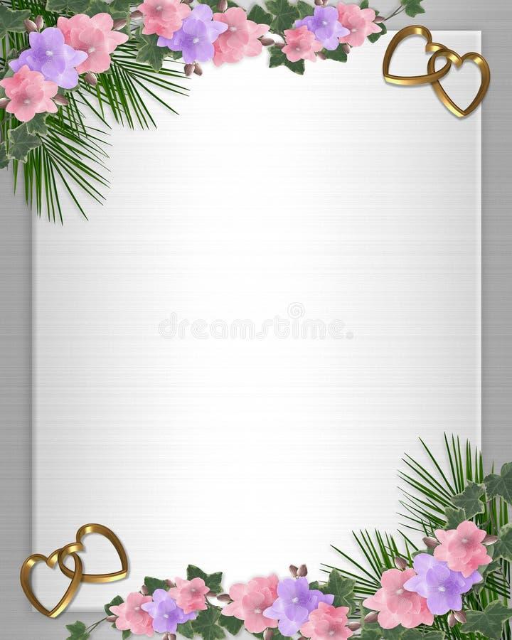 Hera das orquídeas da beira do convite do casamento ilustração do vetor