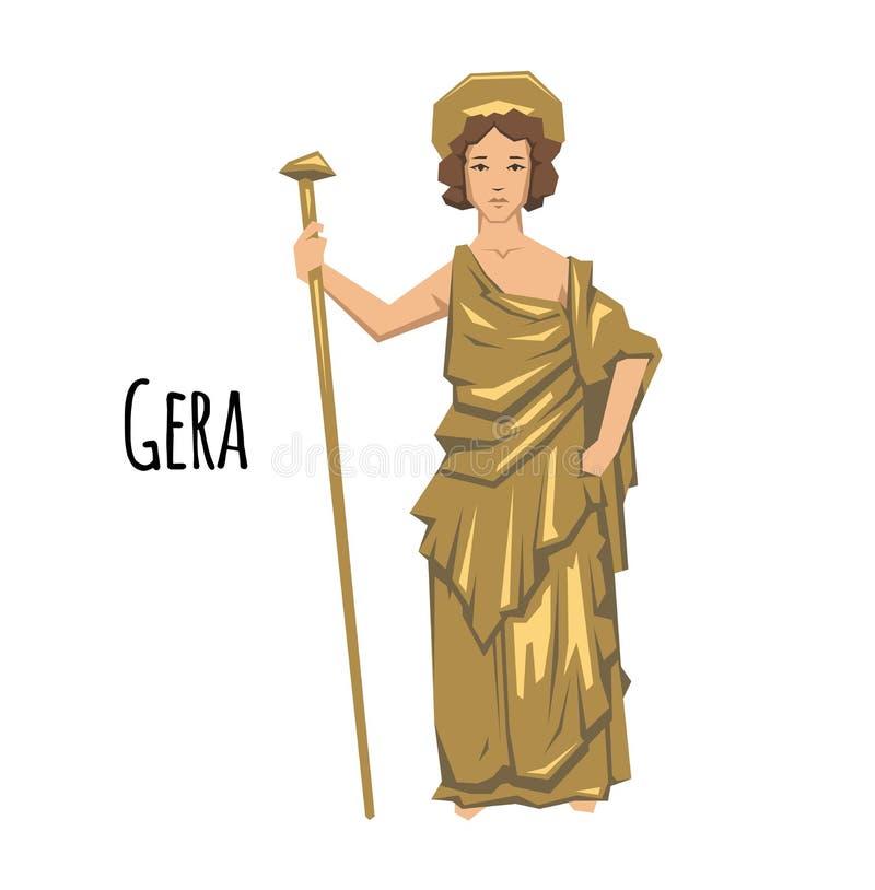 Hera, diosa del griego clásico de la boda, madres y familias mitología Ejemplo plano del vector En blanco libre illustration
