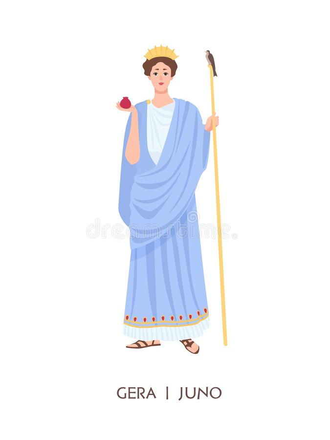 Hera or Juno - goddess of women, marriage, family and childbirth in ancient Greek and Roman religion or mythology. Female cartoon character isolated on white royalty free illustration