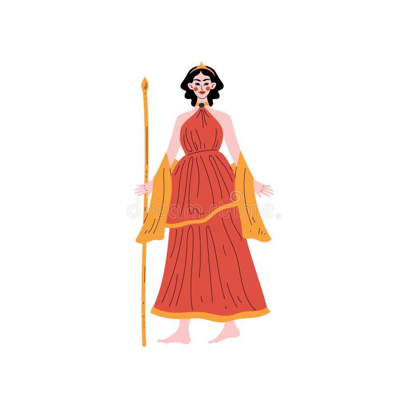 Hera Olympian Greek Goddess, Ancient Greece Mythology Hero Vector Illustration royalty free illustration
