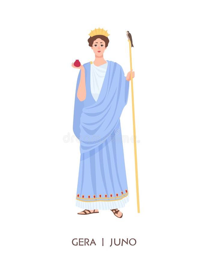 Hera ou Juno - déesse des femmes, le mariage, la famille et l'accouchement dans le grec ancien et religion ou mythologie romaine illustration libre de droits