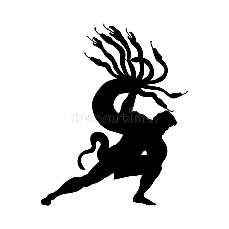 Heracles combat l'imagination antique de mythologie de silhouette d'hydre illustration de vecteur