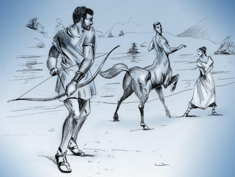 Heracles sta andando uccidere Nessus illustrazione di stock