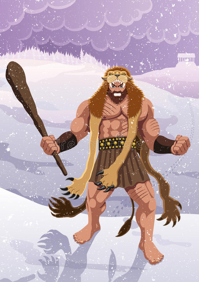 Heracles. Wearing the skin of the Nemean Lion. No transparency and gradients used royalty free illustration