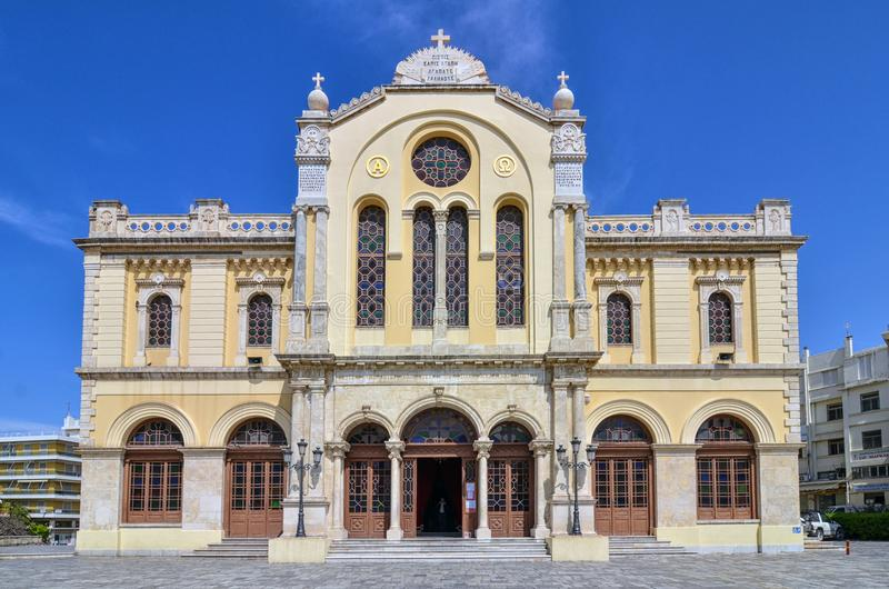 Heraklion, Crete / Greece: Facade of the Agios Minas Cathedral is a Greek Orthodox Cathedral stock images