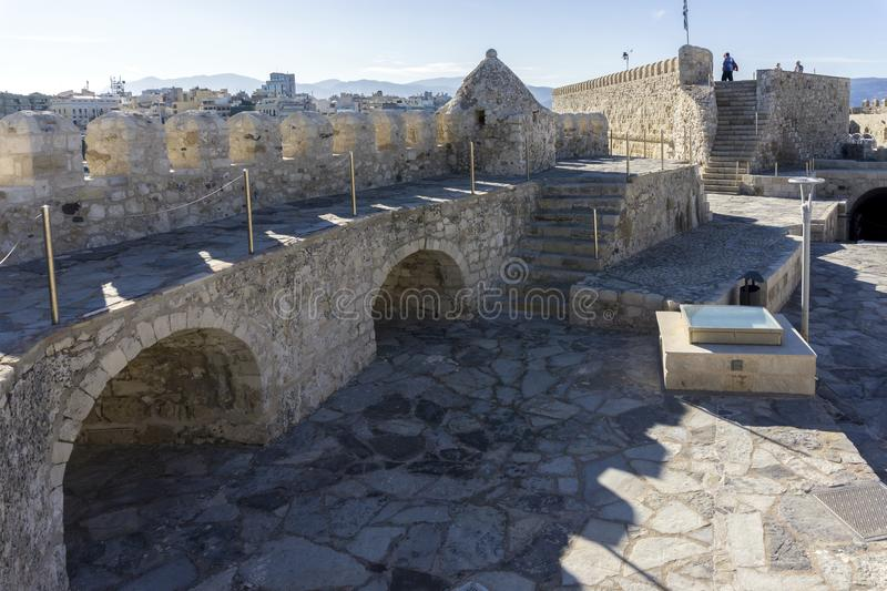Heraklion, Crete / Greece. Rooftop view of the fortress Koules stock images