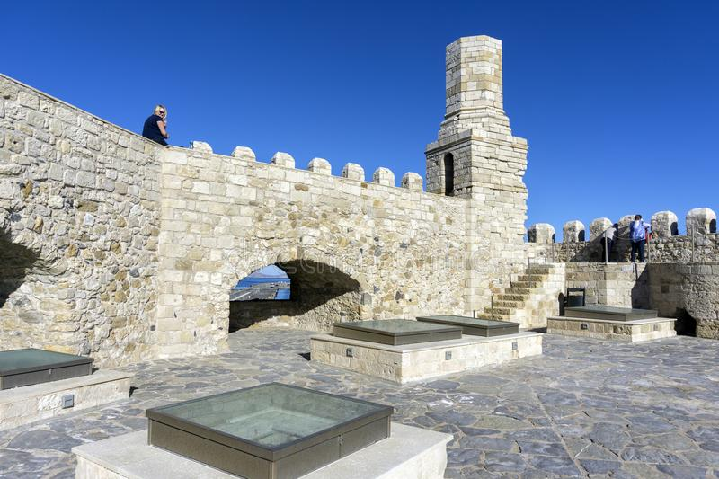 Heraklion, Crete / Greece. Rooftop view of the fortress Koules with the old lighthouse royalty free stock image