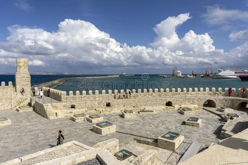Heraklion, Crete / Greece . Rooftop view of the fortress Koules the port of Heraklion and the island Dia stock photo