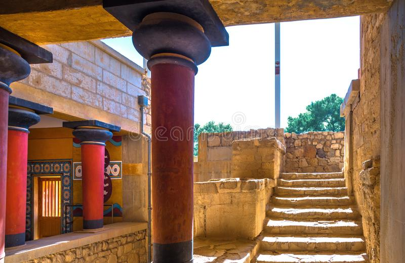 Copies of fresco in a hall at the palace of Knossos, famous ancient city in Crete. royalty free stock photography