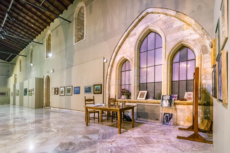 The interior of the basilica of St Mark at Lions square in Heraklion, Greece. Heraklion, Greece - October 8th, 2018: The interior of the basilica of St Mark at royalty free stock image