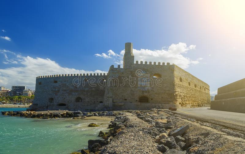 Heraklion harbour with old venetian fort Koule and shipyards, Crete, Greece. Europe stock photography
