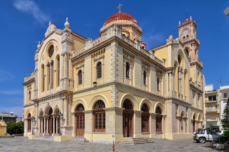 Heraklion, Kreta/Griekenland: Agios Minas Cathedral is een Griekse Orthodoxe Kathedraal stock foto
