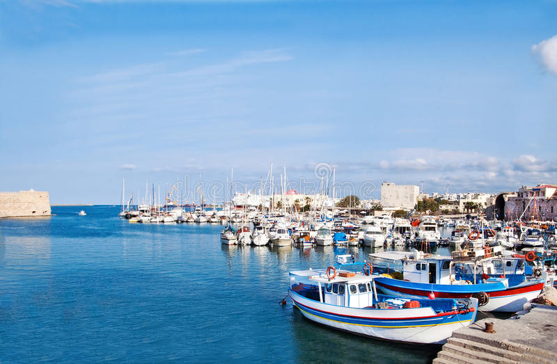 Heraklion port and venetian harbour royalty free stock photos