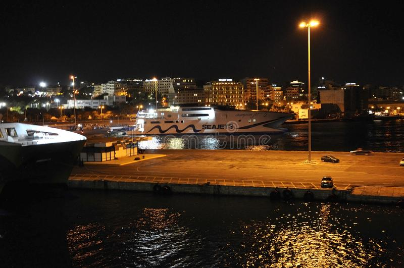 Heraklion, 5th September: Nighttime on the Greek Port of Heraklion in Crete island stock photo