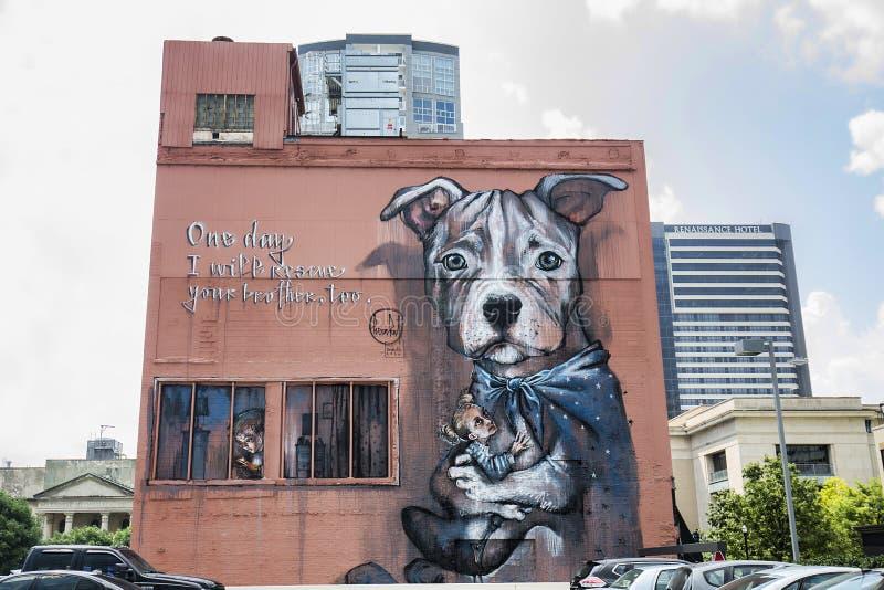 Herakut graffiti malowidło ścienne zdjęcia royalty free