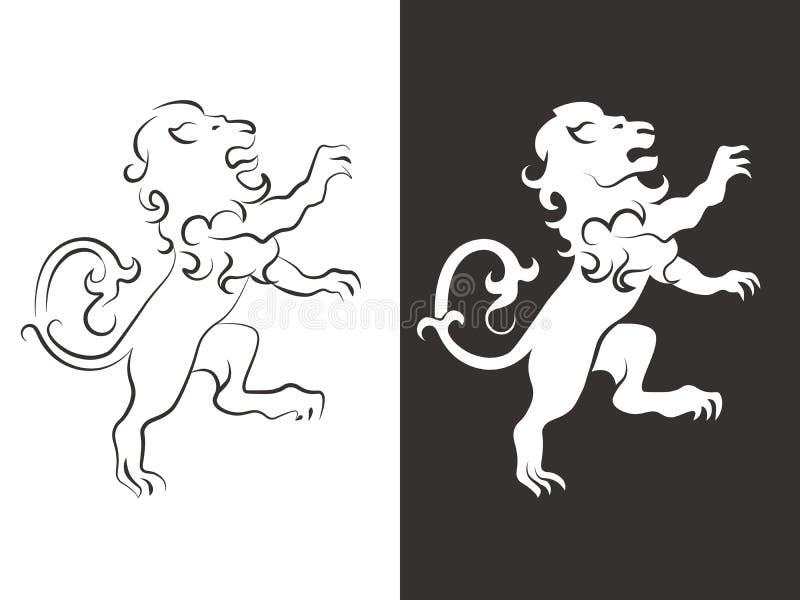 heraldic вектор льва Львы линии и силуэта для оружий иллюстрация вектора
