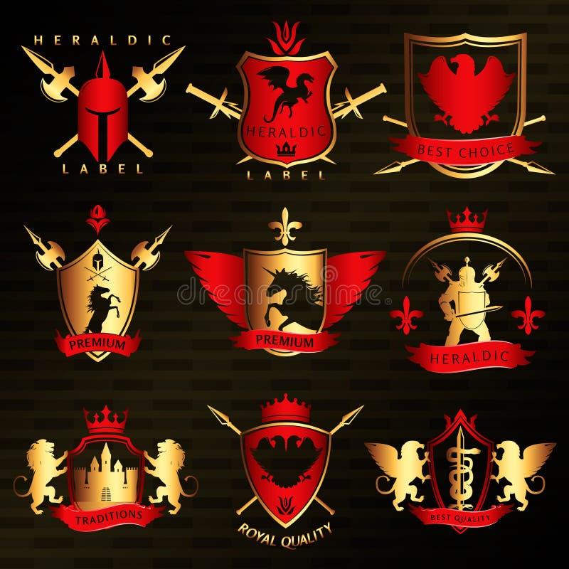 Heraldic винтажные стильные ярлыки иллюстрация штока