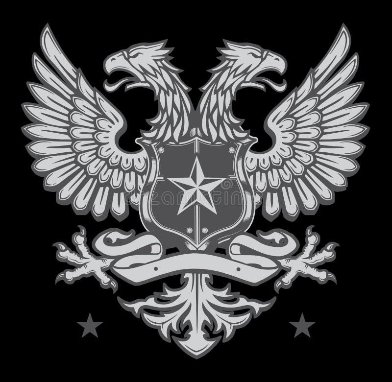 Двойник возглавил Heraldic гребень орла иллюстрация штока