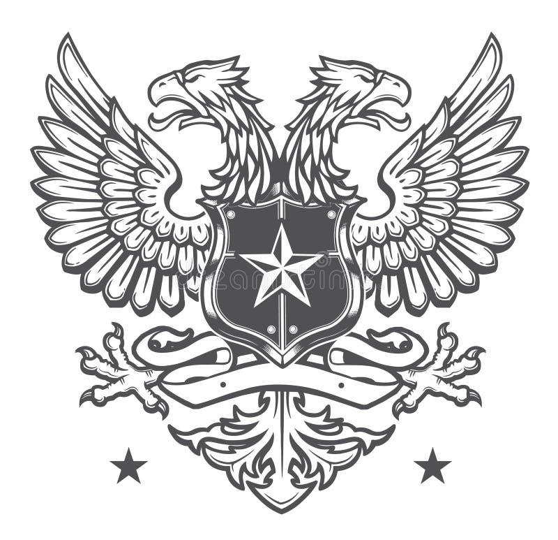 Двойник возглавил Heraldic гребень орла на белизне иллюстрация вектора