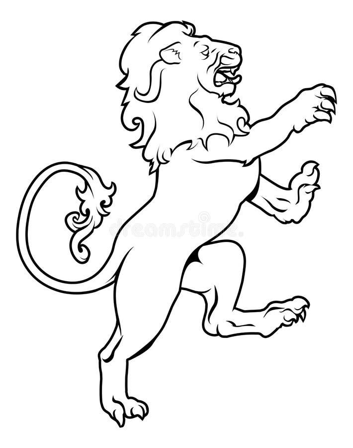 Heraldic лев герба иллюстрация вектора