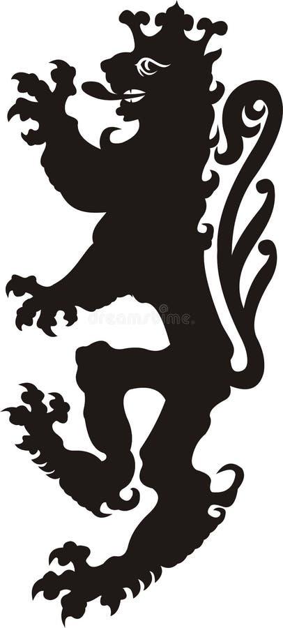 Heraldic татуировка льва Черный/белый силуэт иллюстрация вектора