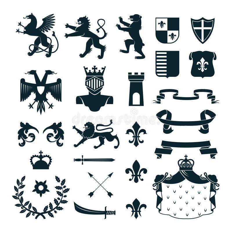 Heraldic чернота собрания эмблем символов бесплатная иллюстрация