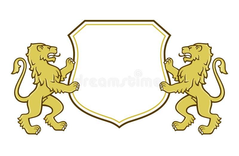 Heraldic львы держа экран иллюстрация штока