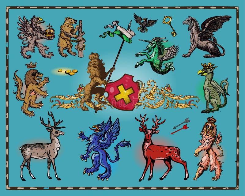 Heraldic beasts. Isolated on dark background stock illustration