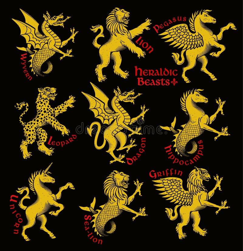 Heraldic beasts. Vector Illustration. Vector heraldic beasts illustration in vintage style royalty free illustration
