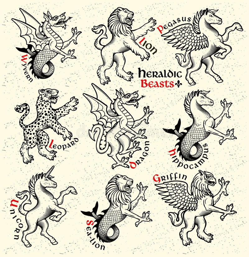 Heraldic beasts. Vector Illustration. Vector heraldic beasts illustration in vintage style vector illustration