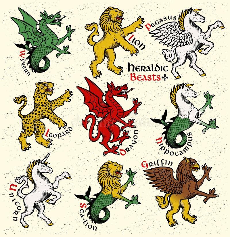 Heraldic beasts. Vector Illustration. Vector heraldic beasts illustration in vintage style stock illustration