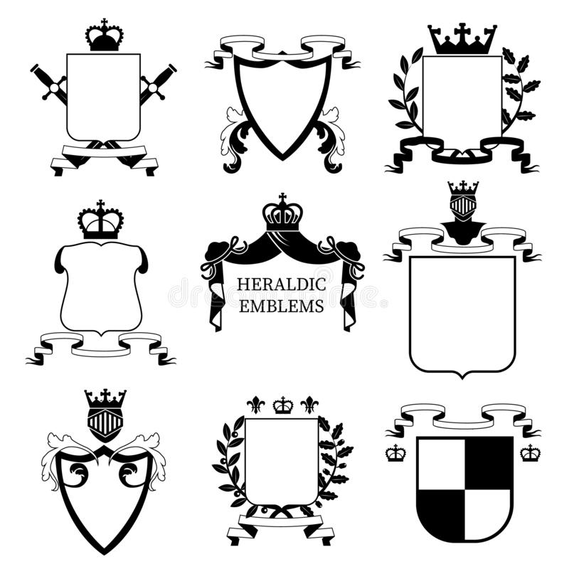 Heraldic emblems and shields collection. Vector set. vector illustration