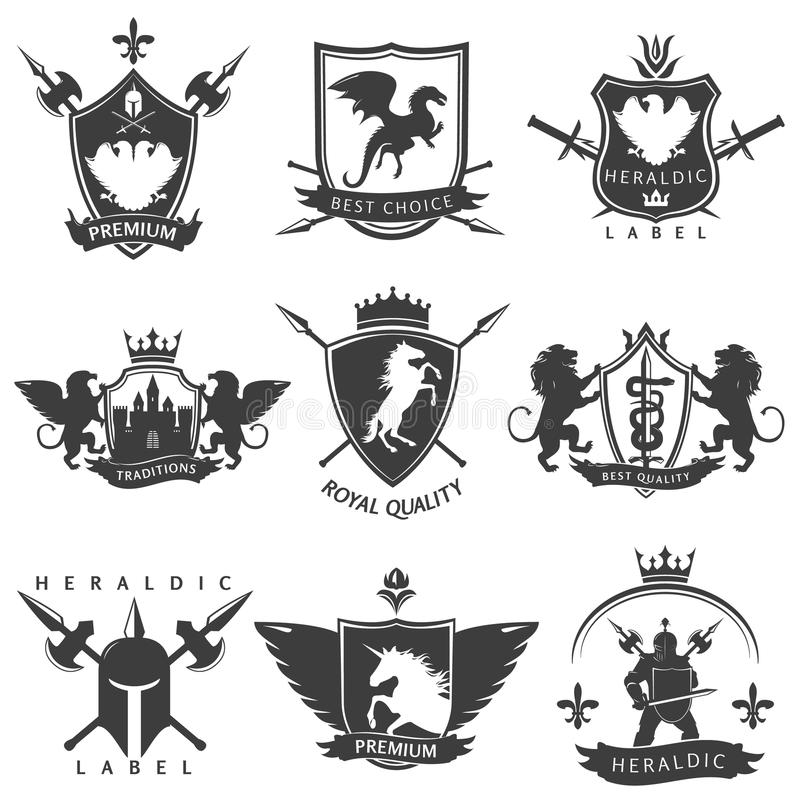 Heraldic Black White Labels stock illustration