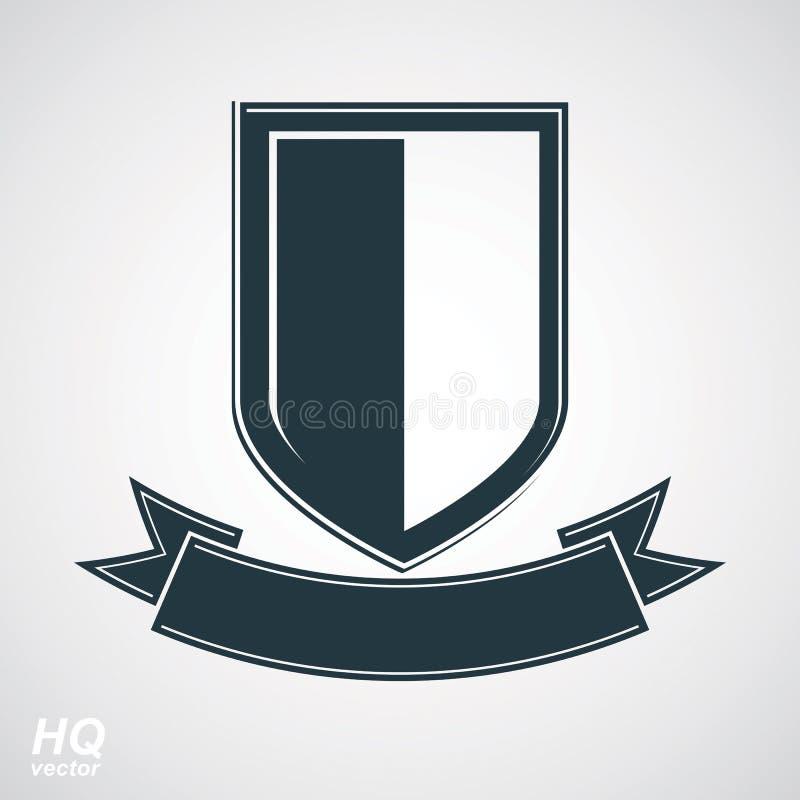 Heraldic blazon illustration, decorative coat of arms. Vector gray defense shield. Military award icon. Heraldic blazon illustration, decorative coat of arms stock illustration