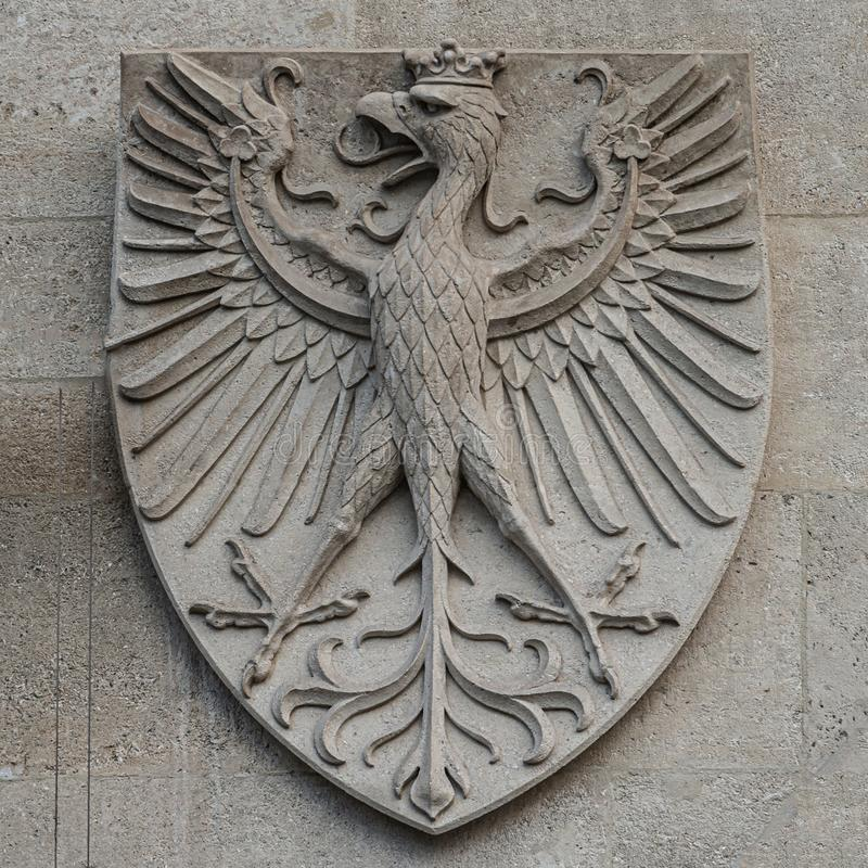 Heraldic Coat of Arms as decoration elements at facade of main city hall Rathaus in Vienna, Austria. Closeup, details royalty free stock photography