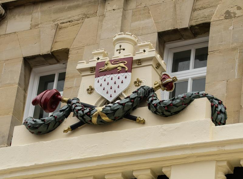 The heraldic coat of arms of Chichester City Council. As seen above the Butter Market royalty free stock photos