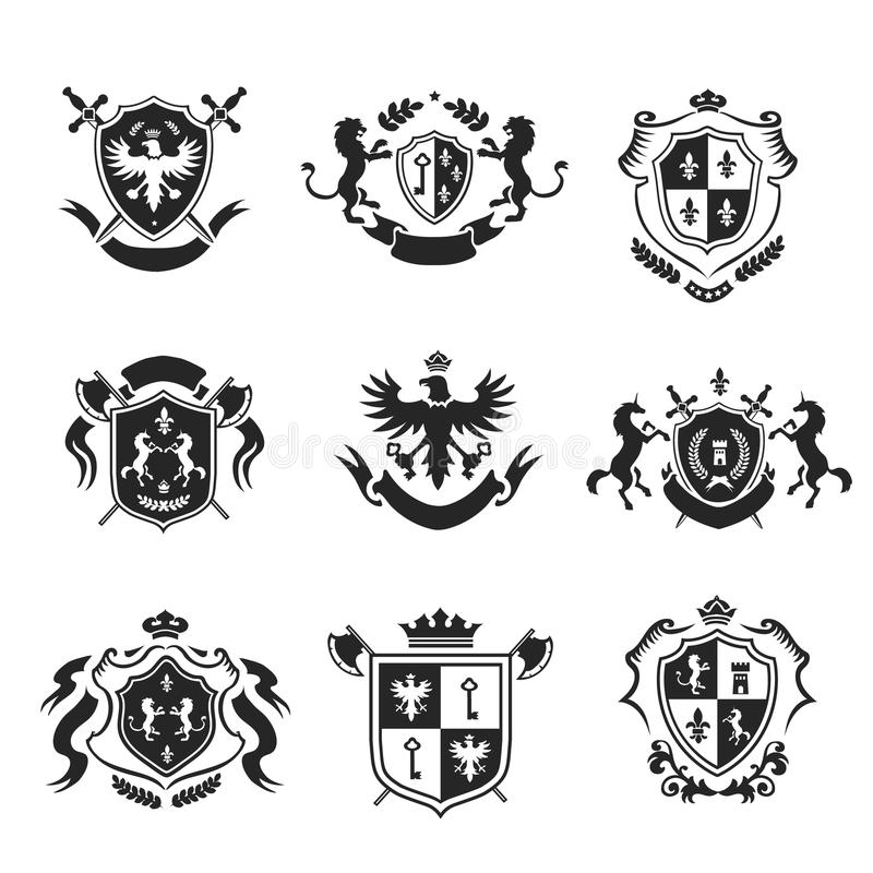 Heraldic coat of arms decorative emblems black set stock illustration