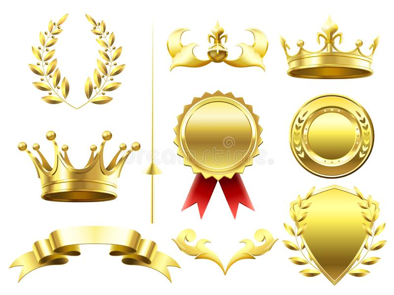 Heraldic 3D elements. Royal crowns and shields. Sport challenge winner gold medal. Laurel wreath and golden crown vector illustration