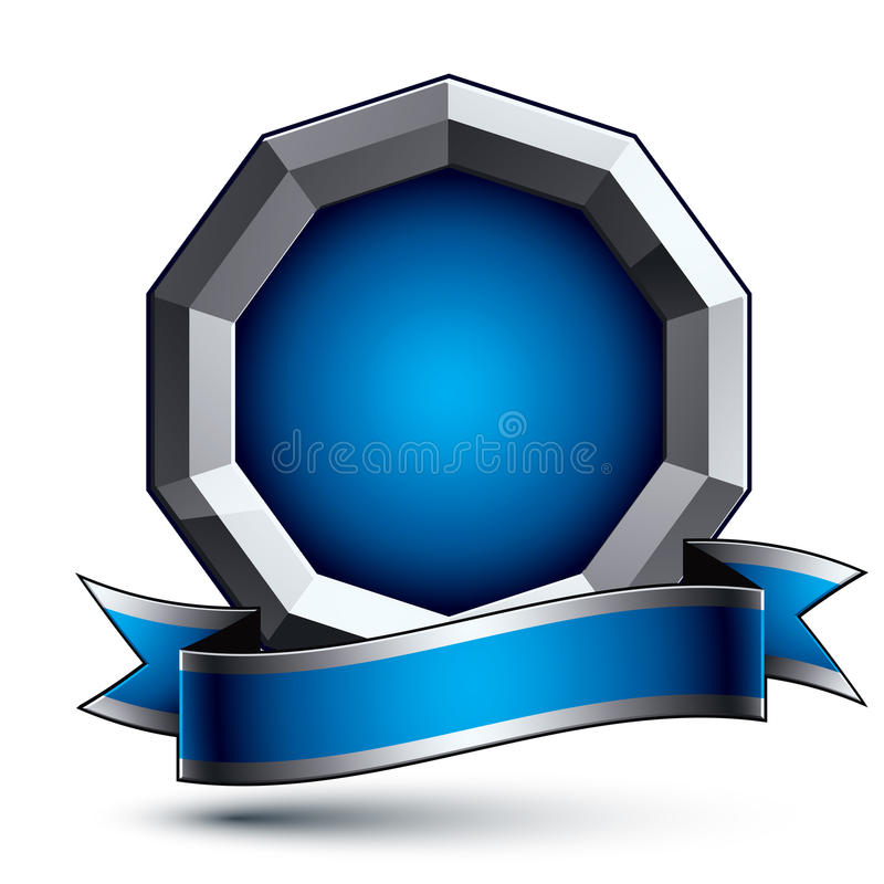 Heraldic 3d glossy blue and gray icon - can be used in web and g. Raphic design, silver ring with blue filling. Magnificent element with elegant ribbon, clear vector illustration