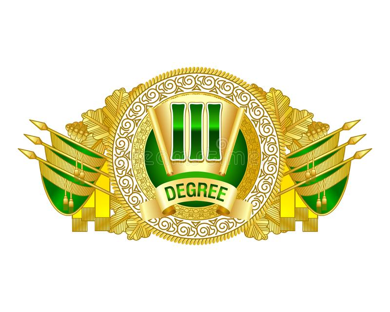 Heraldic decorative label of third degree. stock illustration